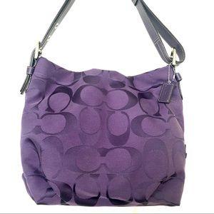 Coach signature lilac purple jacquard hobo bag